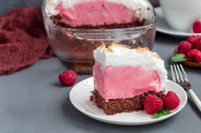 Piece of baked Alaska with chocolate sponge cake, raspberry ice cream and meringues, on a white plate, horizontal. Piece of baked Alaska with chocolate sponge stock image