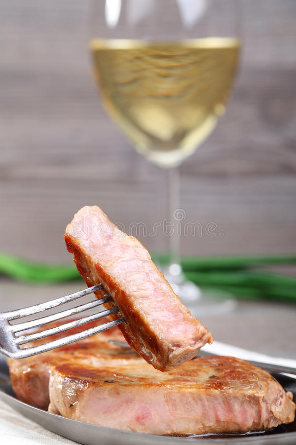Piece of beef and wine royalty free stock images