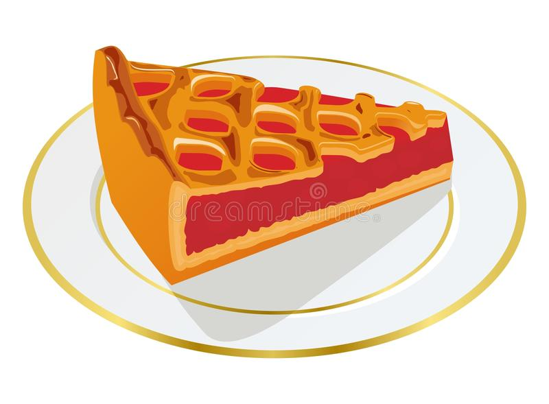 Piece of berry pie. On a plate vector illustration