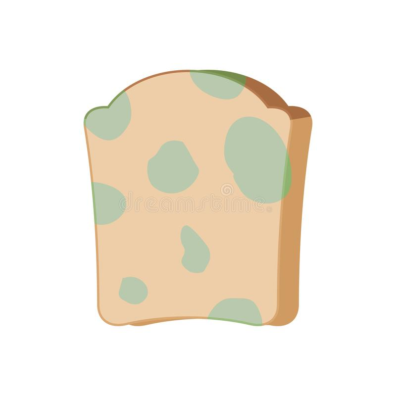 Piece of bread with mold isolated. Foul food vector illustration.  stock illustration