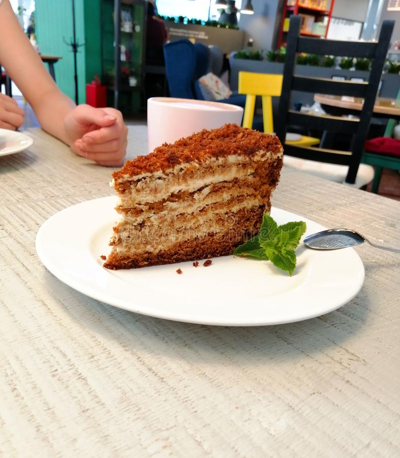 A piece of brown cake with mint leaf on a white plate on a table in a cafe. A piece of brown cake on a white plate on a table in a cafe with molded mint stock photography