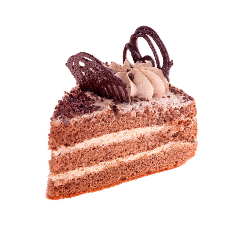 Piece Of Brown Cake On A White Royalty Free Stock Photo