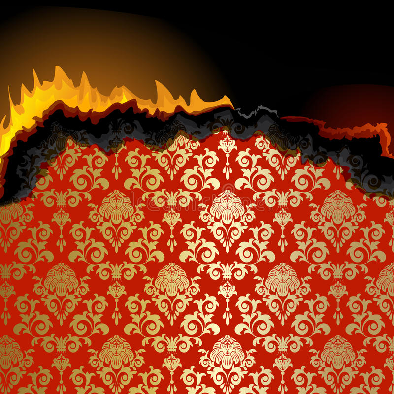 Piece of burning paper. With floral pattern stock illustration