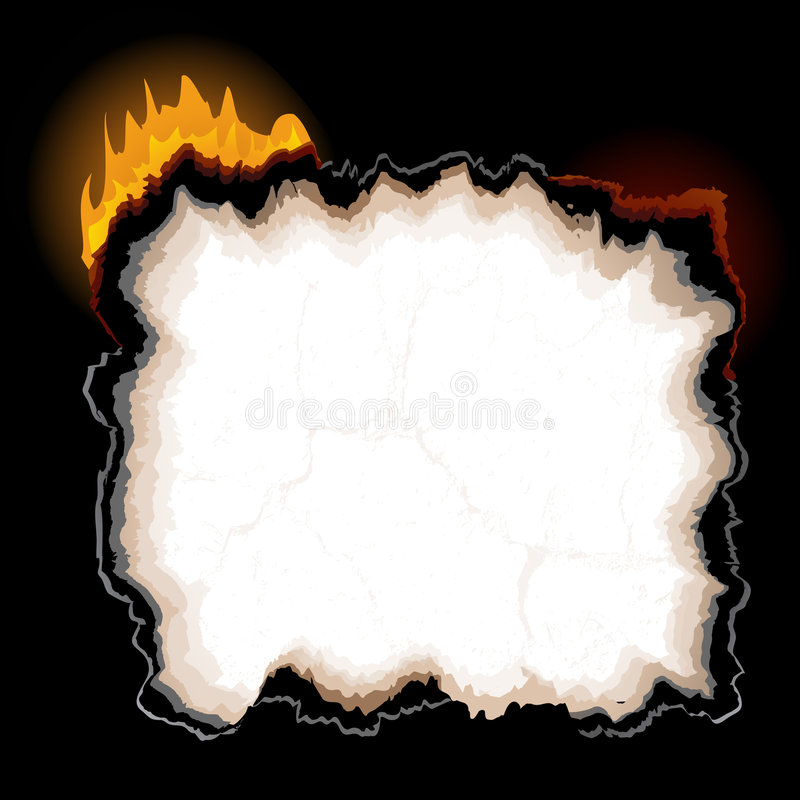 A piece of burning paper. With jagged edges royalty free illustration