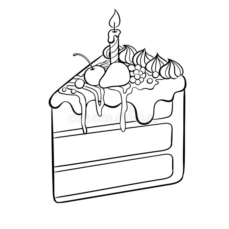 Cake With Candle Coloring Book Vector Illustration Stock Vector ...