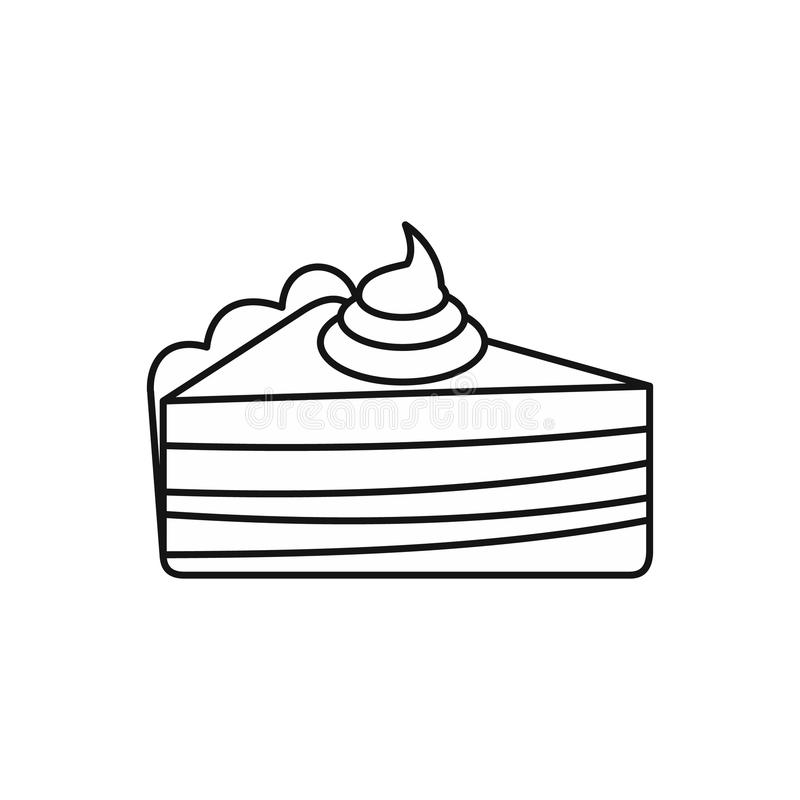 Piece Of Cake With Cream Icon Outline Style Stock Vector Ilration Meal