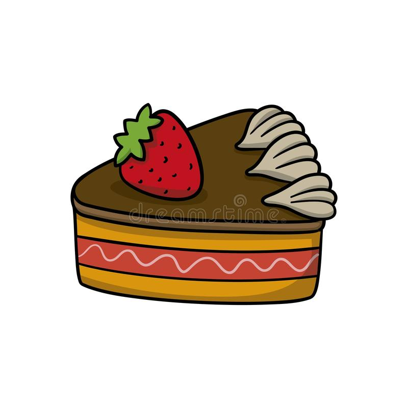 Piece of cake. Food icon. Doodle cartoon vector illustration. Vector drawing of Piece of cake. Icon belonging to collection of icons related to food. Doodle vector illustration