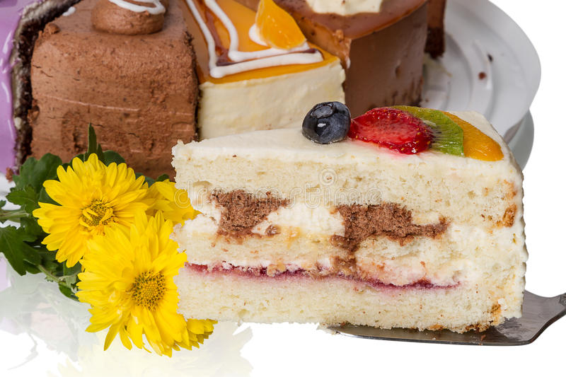Download Piece Of Cake With Fruit And  Flowers Stock Photo - Image: 29052844