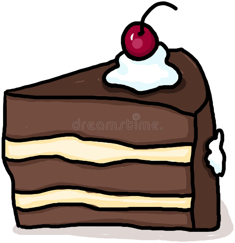 Cake illustration; Piece of cake cartoon. Cake illustration; Isolated piece of cake cartoon stock illustration