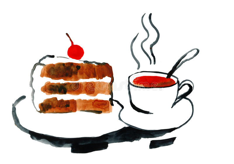 Piece of the cake and mug of tea. Drawn by watercolors on white background royalty free illustration