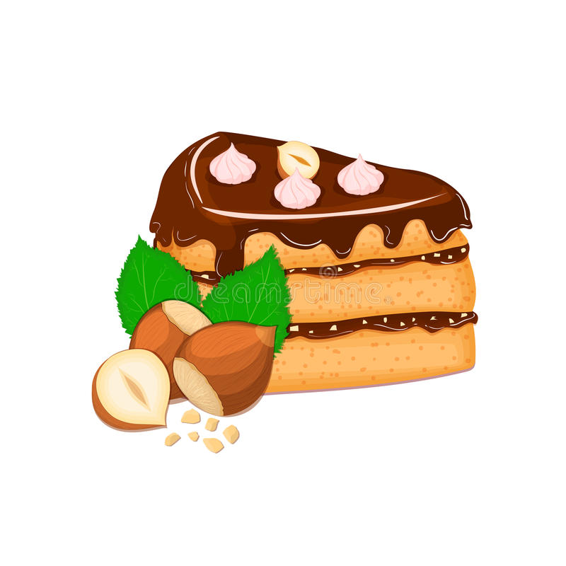 Piece of cake with nuts. Vector sliced portion sponge creamy hazelnut layer, decorated chocolate cream and crushed. Piece of cake with nuts. Vector sliced vector illustration