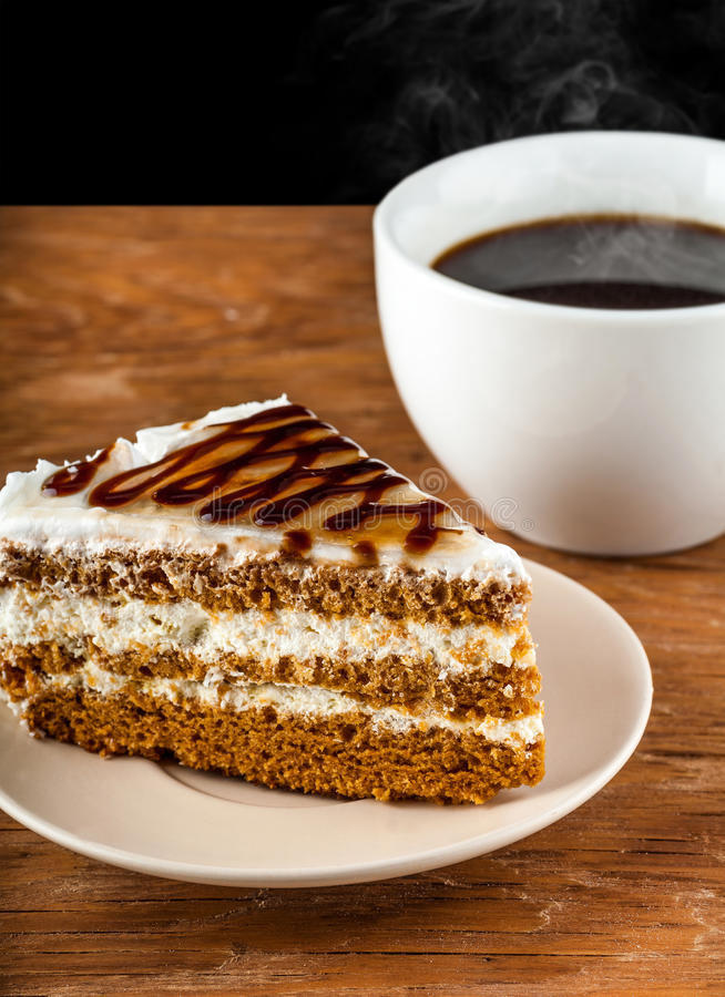 Piece Cake On A Plate And Black Coffee Stock Image Of Gourmet