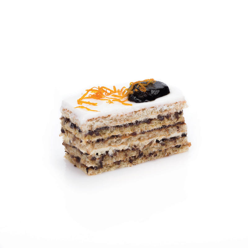 Piece of cake with prunes royalty free stock photos