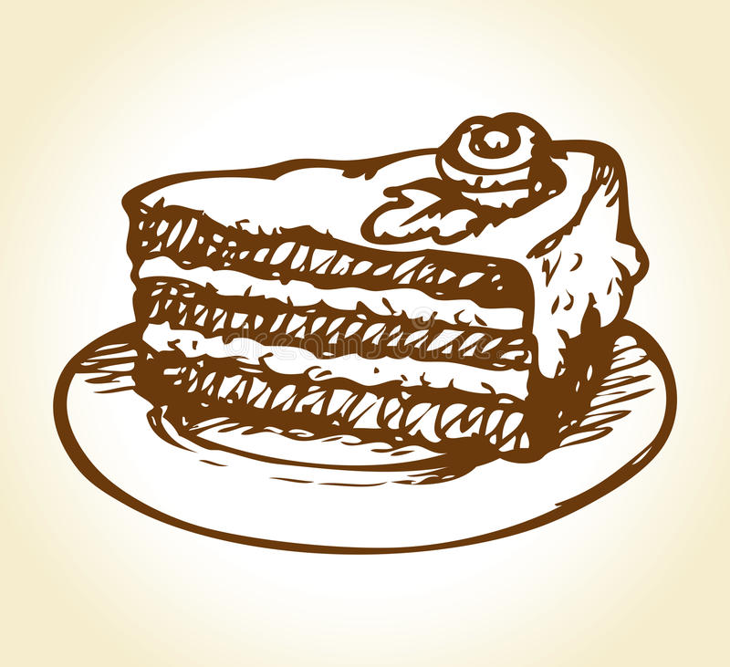 Piece of cake on saucer. Vector drawing. Сhunk of taste flavor gateaux with butter whipped topping and floral decoration on saucer. Vector freehand ink drawn vector illustration