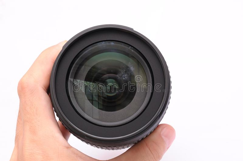 A piece of camera lens with fungi on the front glass element royalty free stock photos