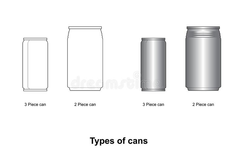 2 Piece Cans and 3 Piece Cans can mockup  can beverage can food can on white background stock illustration