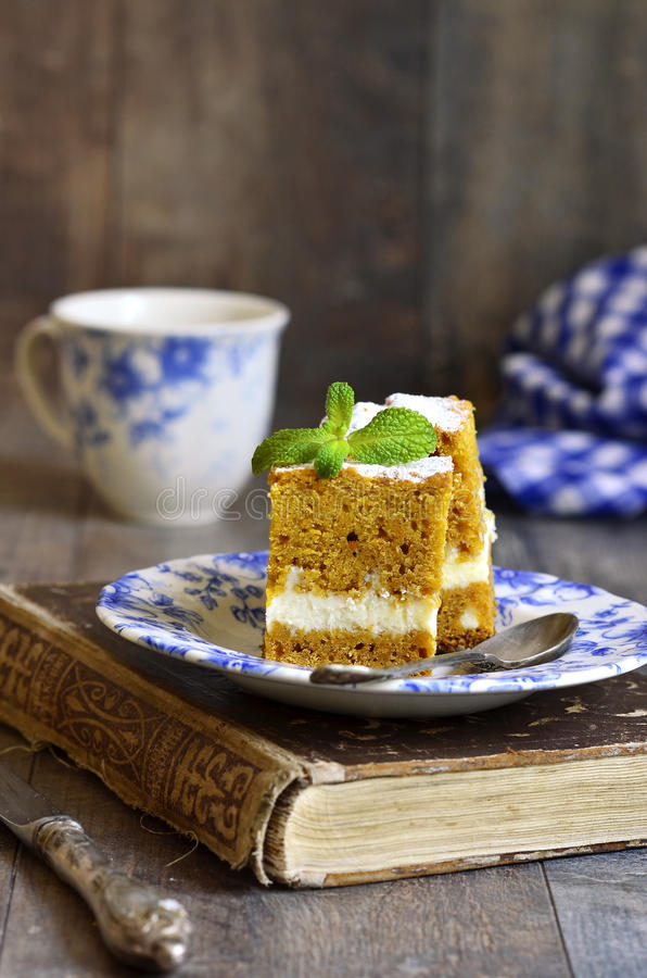 Piece of carrot cake . stock photography
