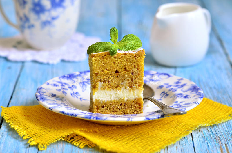 Piece of carrot cake . royalty free stock photography