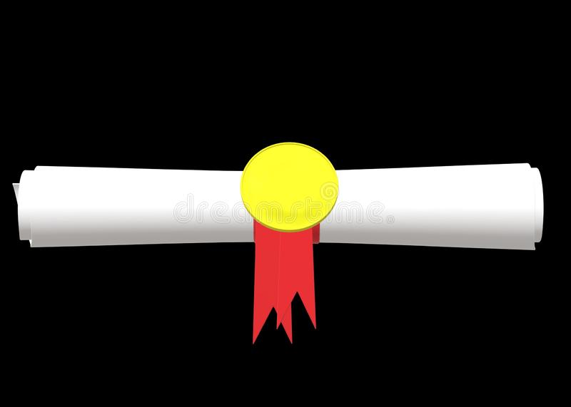 A piece of certificate rolled and held by a yellow round holder with red ribbon royalty free stock photography