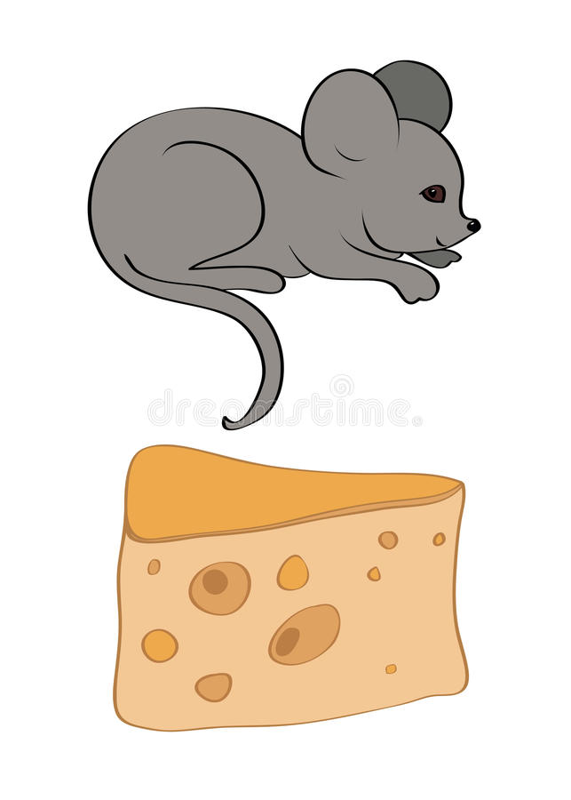 Piece of cheese with holes and gray mouse vector royalty free illustration