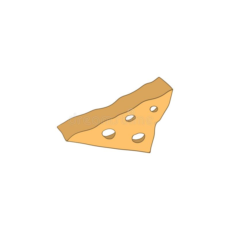 Piece of cheese with holes isolated illustration on a white background in cartoon style. Element for design stock illustration