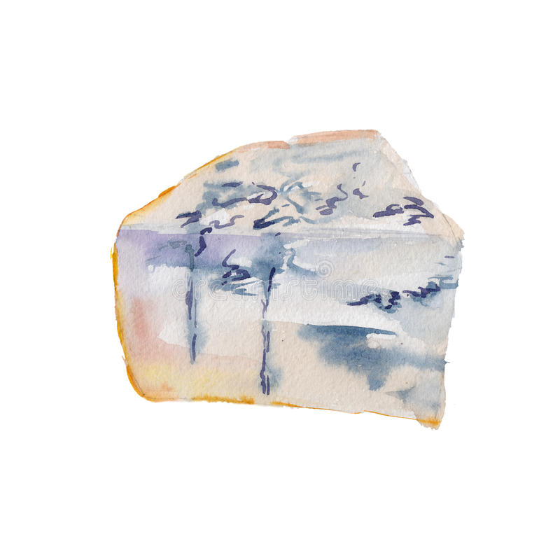 The piece of cheese with a mold isolated on white background, watercolor illustration in hand-drawn style. royalty free illustration