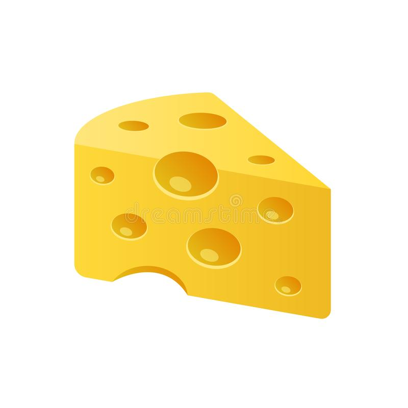 Piece of Cheese vector icon isolated on white background. Flat yellow milk food symbol for web site design. royalty free stock image