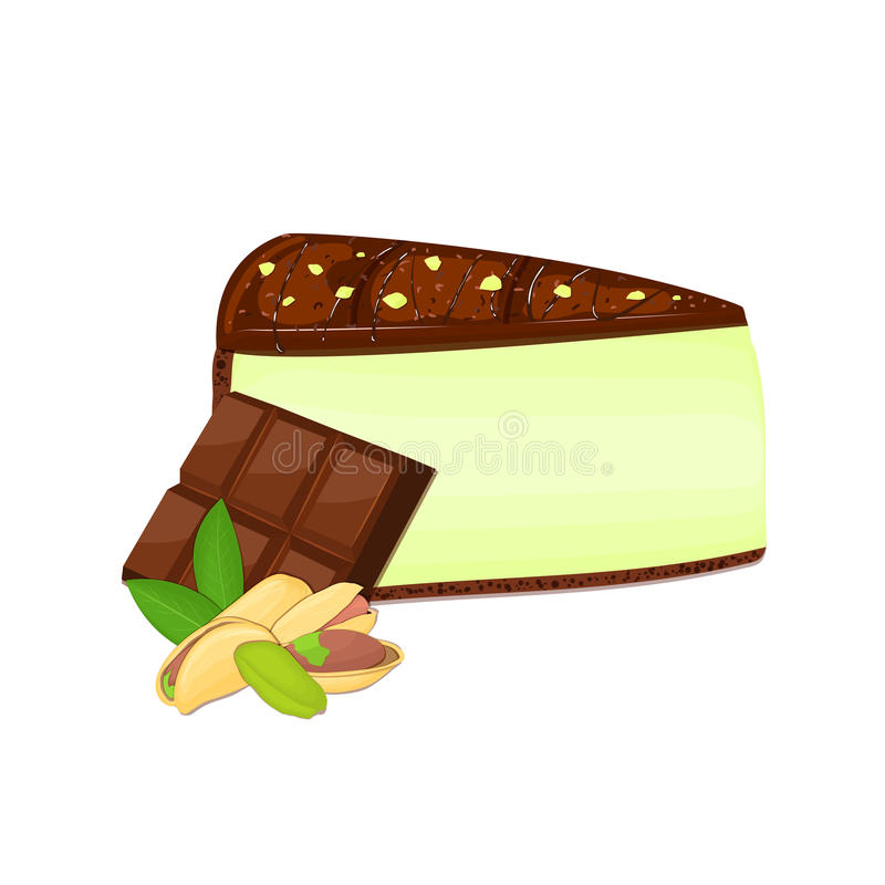 Piece of cheesecake with pistachio nuts and chocolate bar. Vector sliced portion cheescake cake creamy pistacia layer. Piece of cheesecake with pistachio nuts royalty free illustration