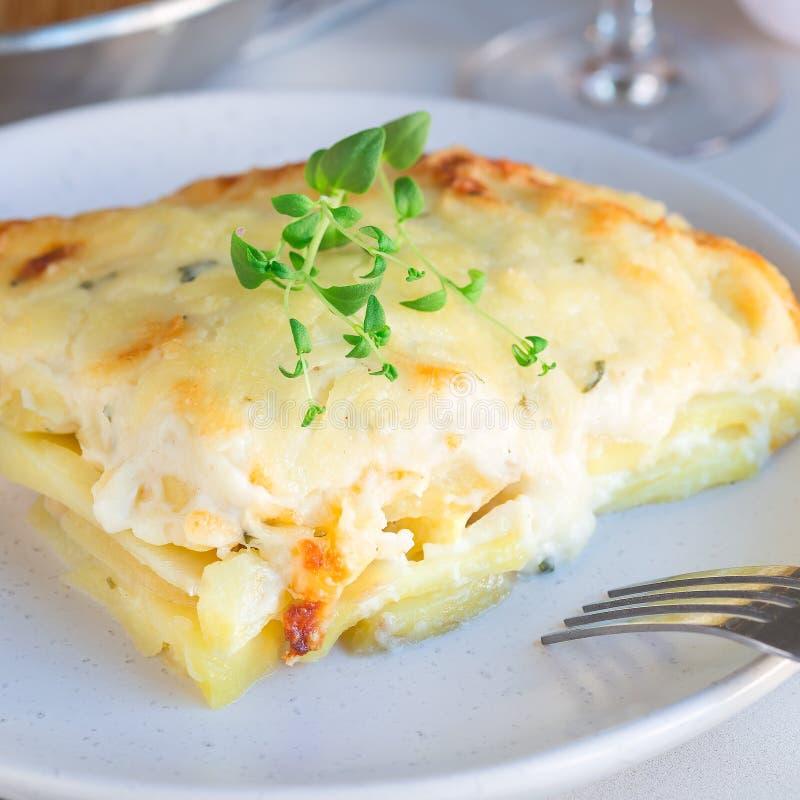 Piece of cheesy scalloped potatoes or potato gratin on a plate,. Piece of cheesy scalloped potatoes or potato gratin on plate, holiday theme, square format royalty free stock image