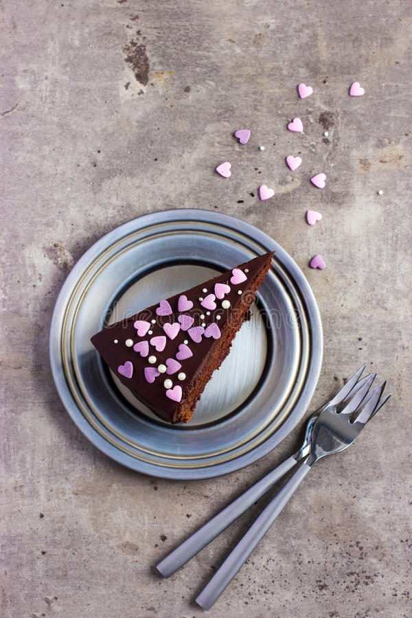 Piece of Chocolate cake for Valentines day royalty free stock photo