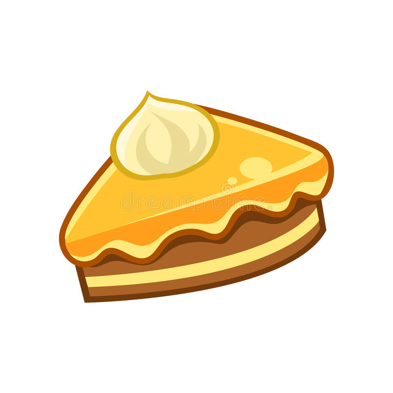 Piece Of Chocolate And Caramel Cake, Food Item Outlined Isolated Childish Icon For Flash Game Design Or Slot Machine. Eatable Element Of Farming Video Game For vector illustration