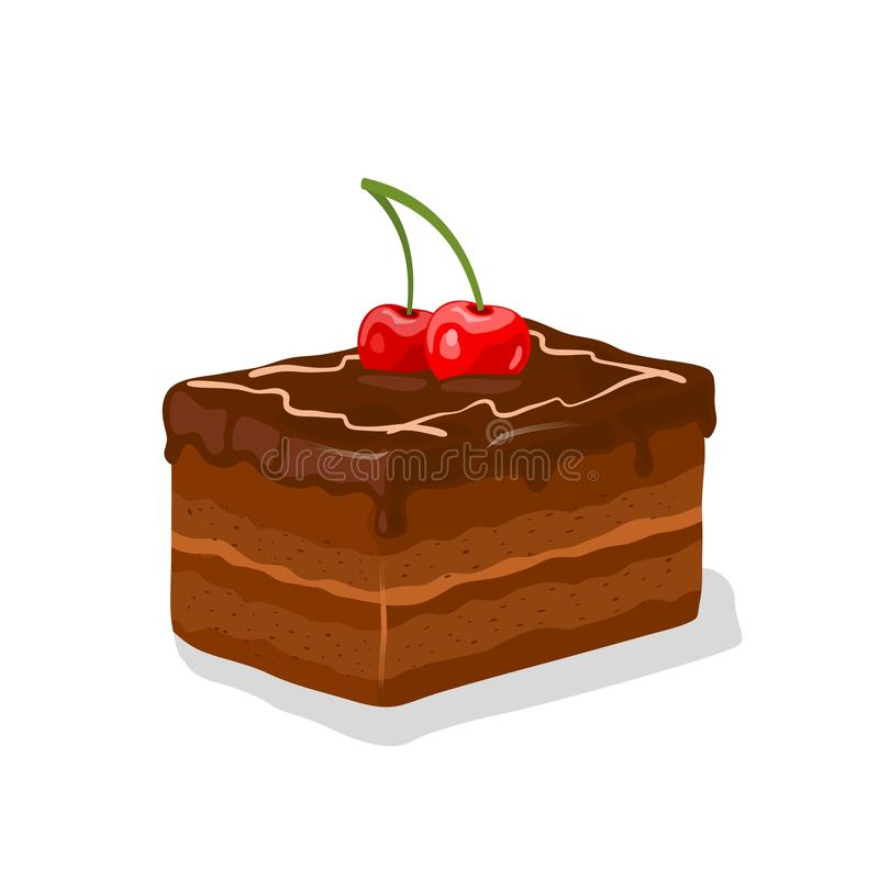 Piece of chocolate glazed layered gateau, fancy cake with buttercream garnished by cherries. Piece of chocolate glazed layered gateau, fancy cake with stock illustration