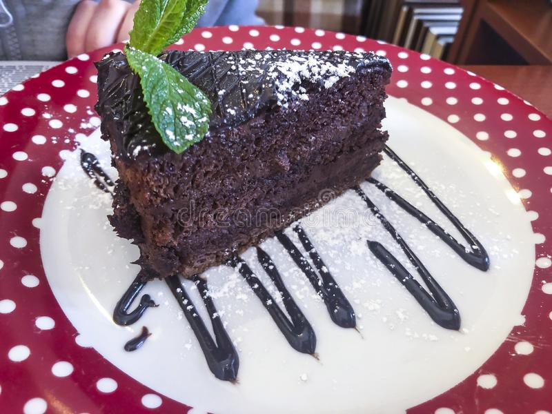 Piece of chocolate yummy cake. stock image