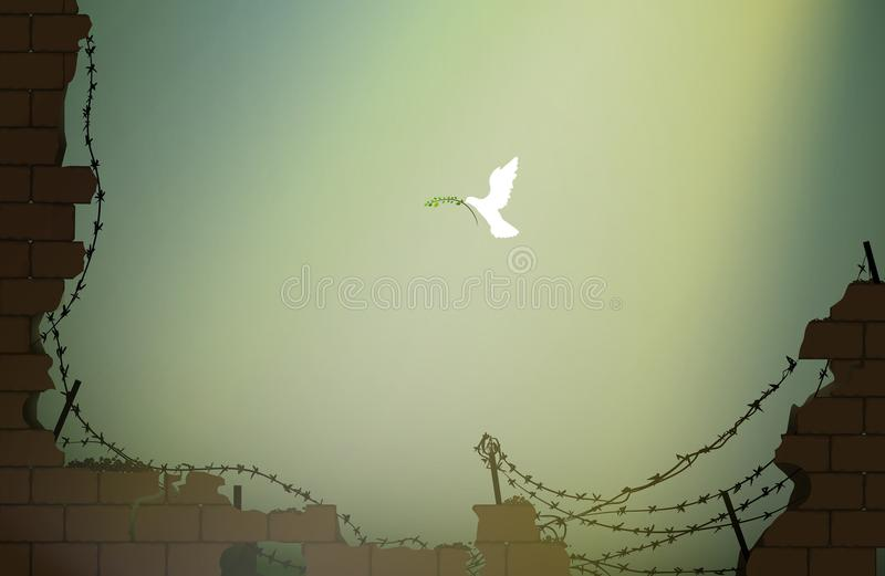 Piece come, pigeon with olive branch flying to the destroyed brick wall with barbed wire, symbol of hope, new life after. War concept, massage of piece, vector stock illustration