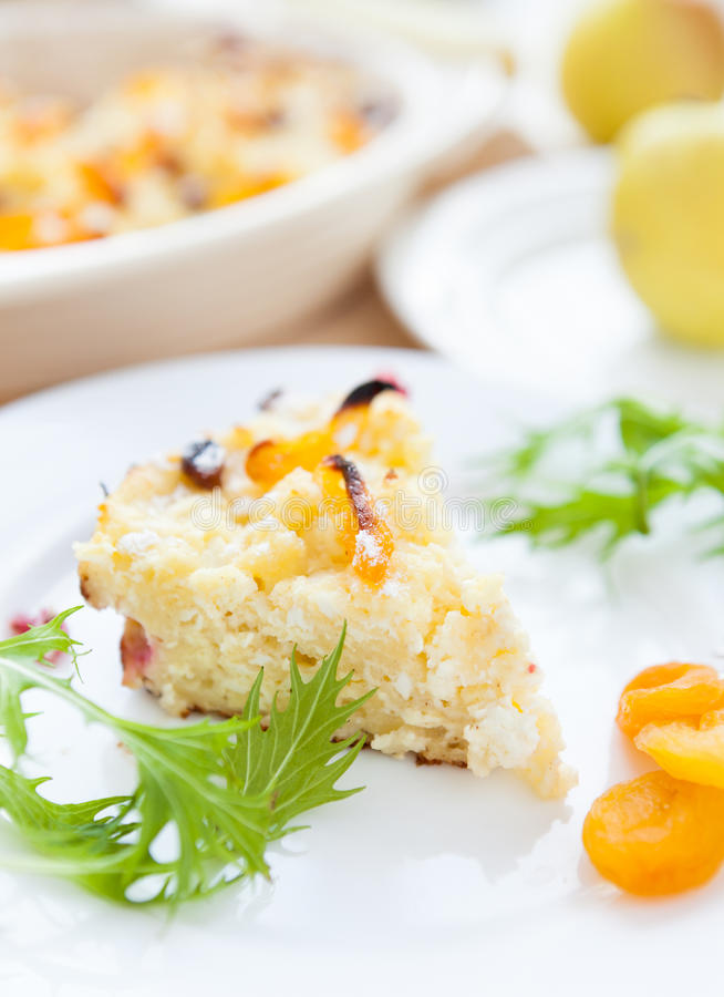 Piece Of Cottage Cheese Pudding With Fruit Royalty Free Stock Images