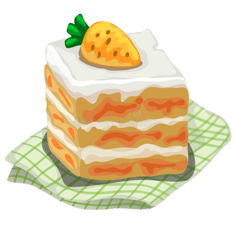 Piece of delicious cake with carrot on top. Dessert on the napkin. Vector image on white background. Isolated illustration for your design needs stock illustration