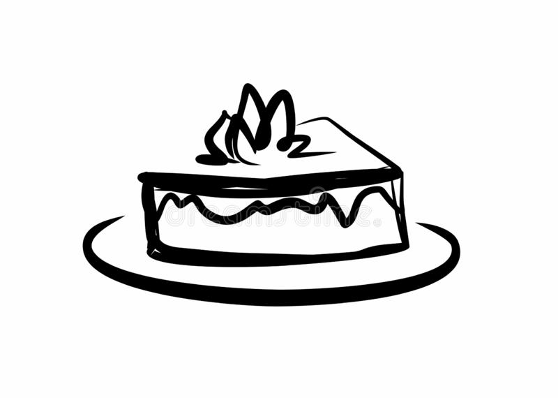 Piece of delicious cake. On a white background royalty free illustration