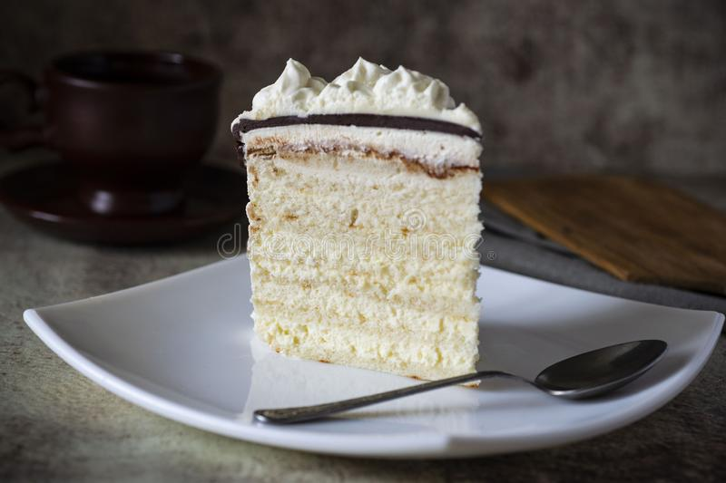 A piece of delicious cake with white cream and chocolate on a white platter. Sponge cake on a platter. stock photos
