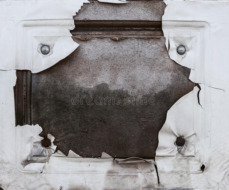 Piece of door with peeling paint.  royalty free stock photo