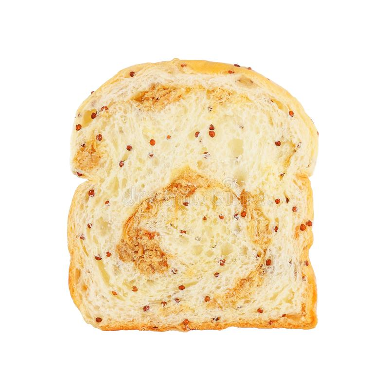 piece of dried shredded pork and sesame bread isolated on white stock image
