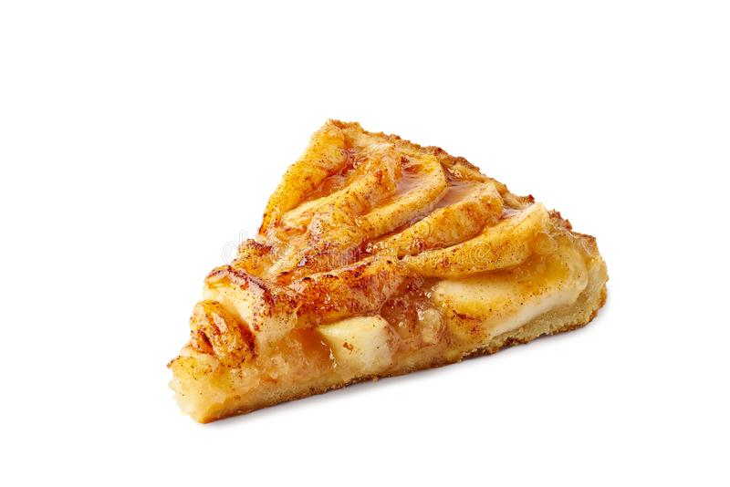 Piece of french apple tart on white royalty free stock photos