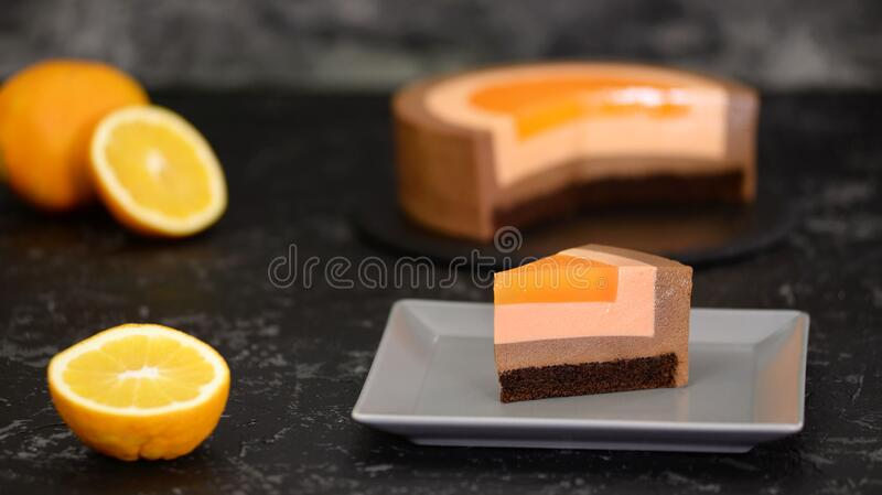 Piece of French Chocolate Orange Mousse Cake. Piece of French Chocolate Orange Mousse Cake stock images
