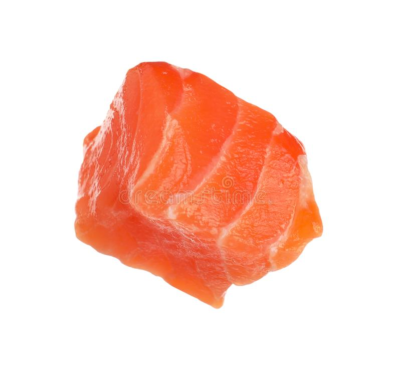 Piece of fresh raw salmon isolated. Fish delicacy. Piece of fresh raw salmon isolated on white. Fish delicacy royalty free stock image