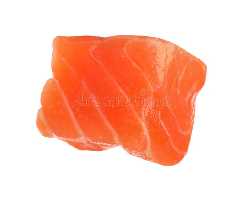 Piece of fresh raw salmon isolated. Fish delicacy. Piece of fresh raw salmon isolated on white. Fish delicacy stock photos