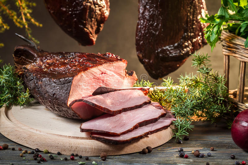 Piece of freshly smoked ham royalty free stock images
