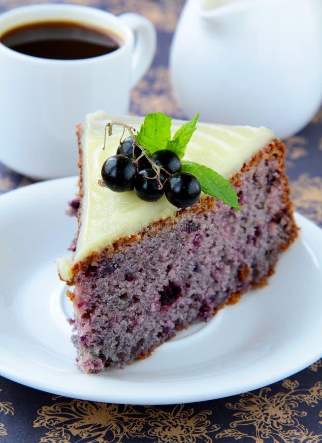 Piece of fruit currant cake stock photos
