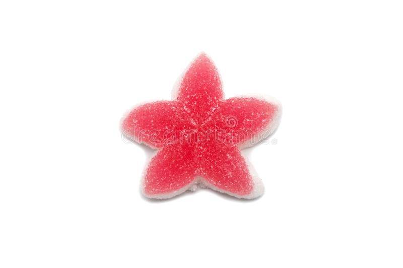 A piece of Gelatin jelly candy colorful Star design. royalty free stock image