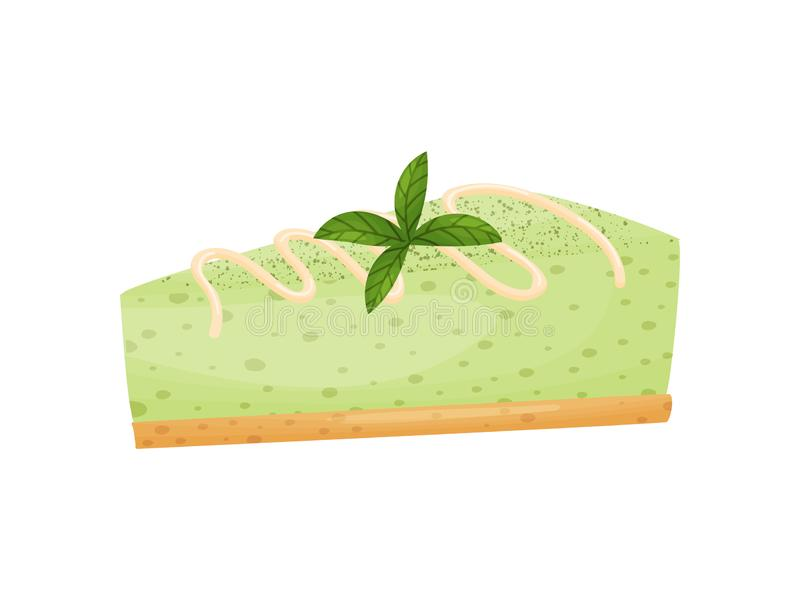 Piece of green cheesecake. Vector illustration on white background. Piece of green cheesecake. Decorated with beige cream and mint leaves. Vector illustration stock illustration