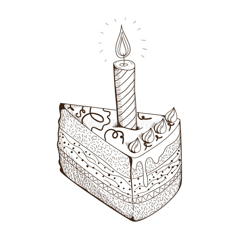 Piece of holiday cake with candle. vector illustration