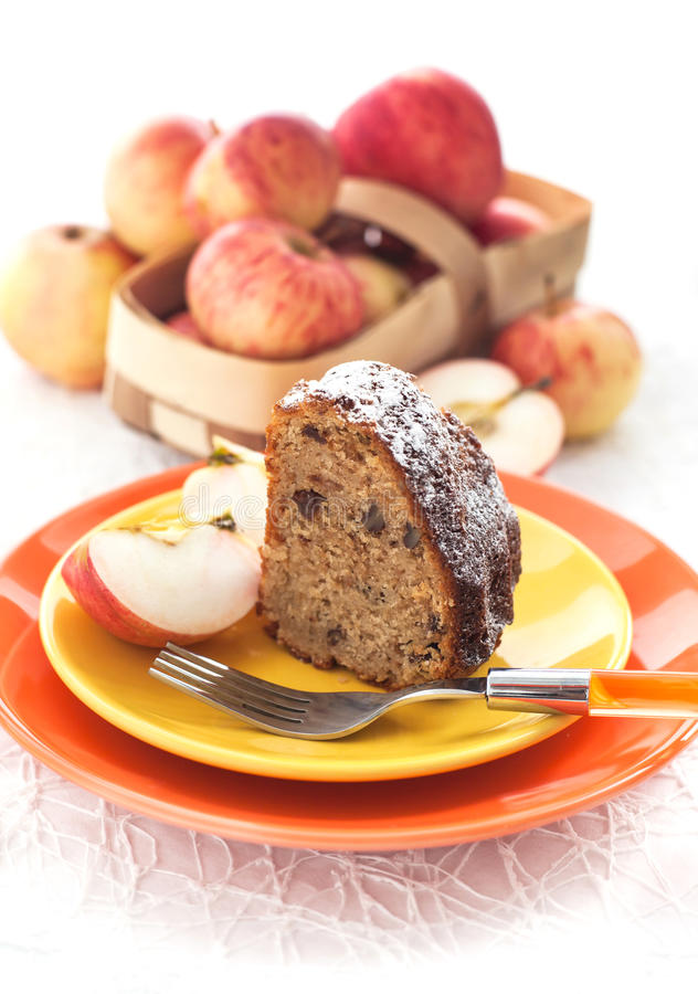 Piece of homemade apple bundt cake stock images